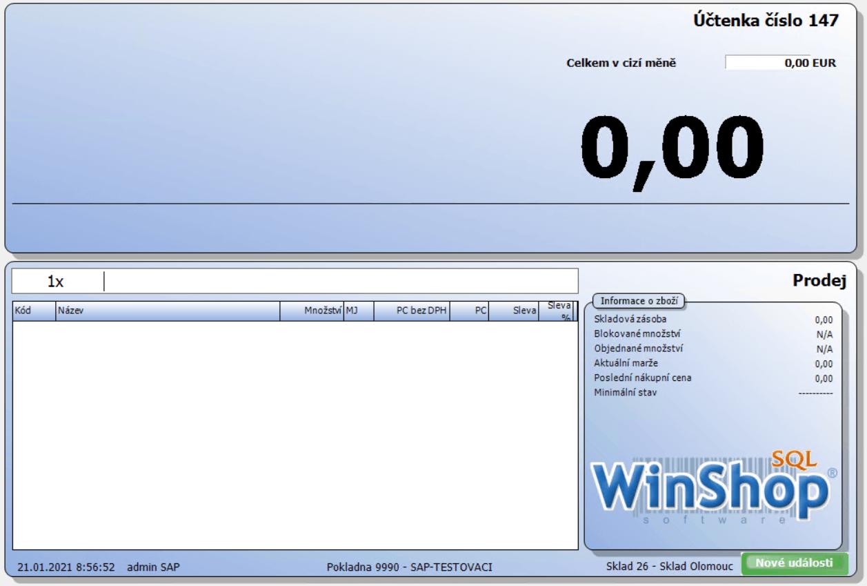 Pokladna WinShop SQL